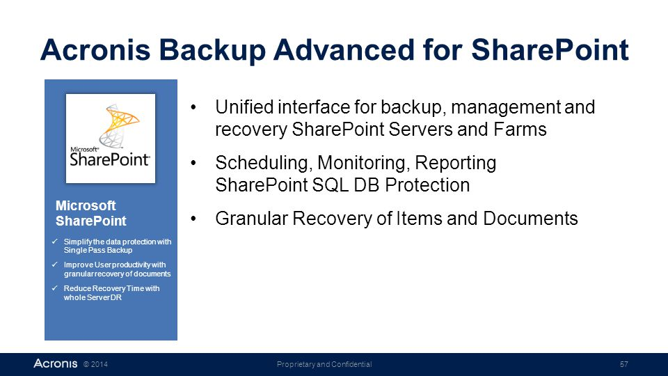 Proprietary and Confidential57© 2014 Acronis Backup Advanced for SharePoint Unified interface for backup, management and recovery SharePoint Servers a
