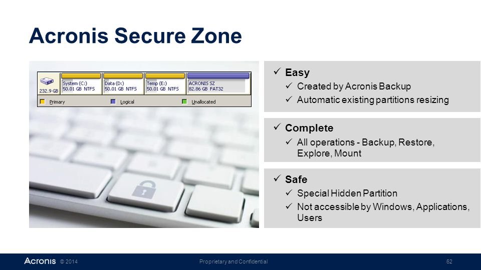 Proprietary and Confidential62© 2014 Acronis Secure Zone Easy Created by Acronis Backup Automatic existing partitions resizing Complete All operations