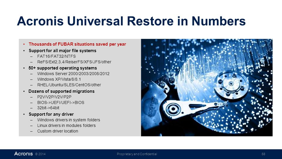 Proprietary and Confidential68© 2014 Acronis Universal Restore in Numbers Thousands of FUBAR situations saved per year Support for all major file syst