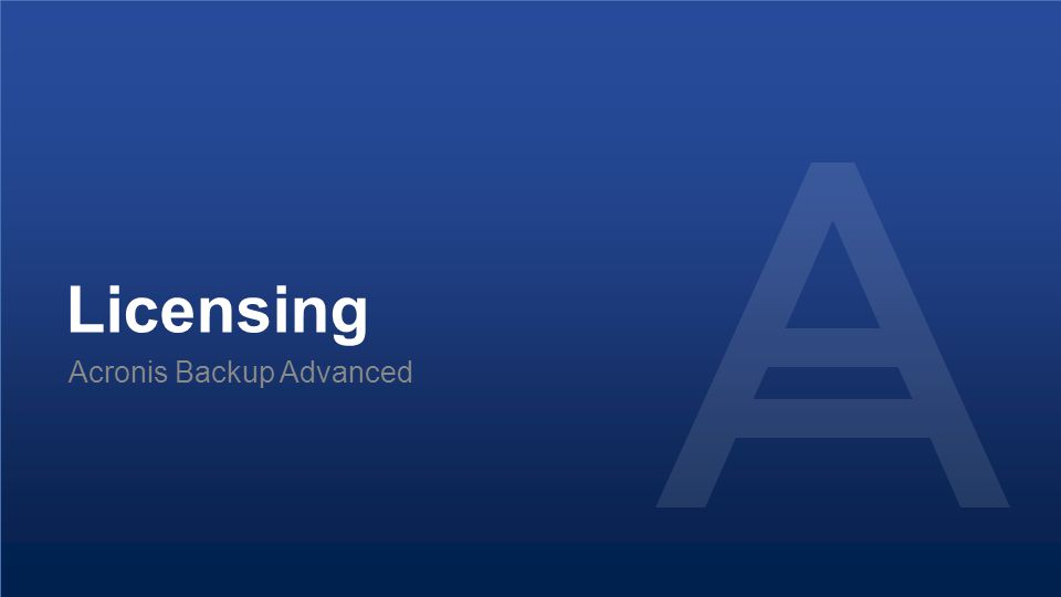Proprietary and Confidential78© 2014 Licensing Acronis Backup Advanced