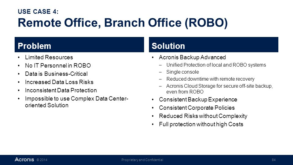 Proprietary and Confidential84© 2014 USE CASE 4: Remote Office, Branch Office (ROBO) Problem Limited Resources No IT Personnel in ROBO Data is Busines
