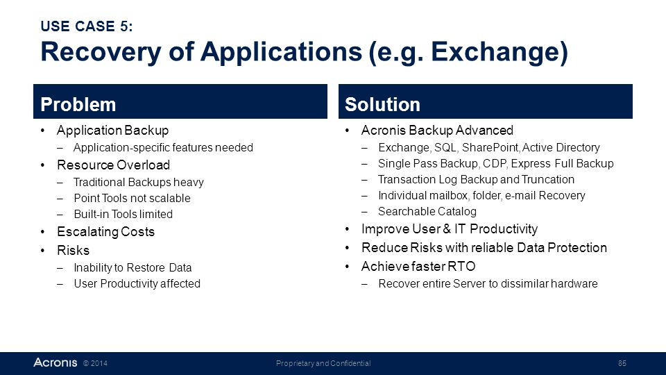 Proprietary and Confidential85© 2014 USE CASE 5: Recovery of Applications (e.g. Exchange) Problem Application Backup –Application-specific features ne