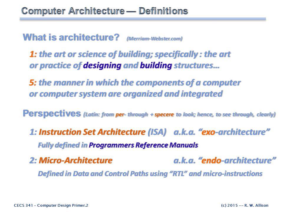 CECS 341 – Computer Design Primer.3(c) 2015 -- R.W.