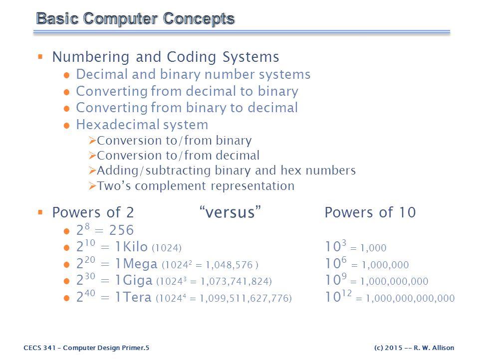 CECS 341 – Computer Design Primer.6(c) 2015 -- R.W.