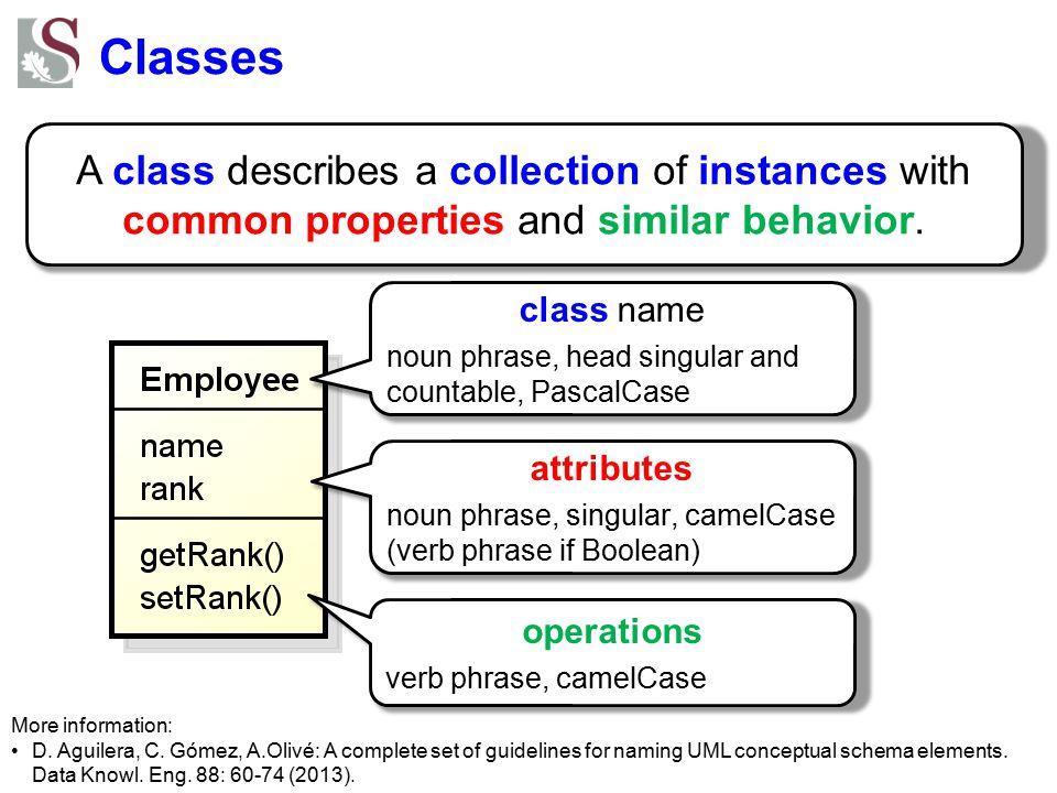 Classes A class describes a collection of instances with common properties and similar behavior. More information: D. Aguilera, C. Gómez, A.Olivé: A c