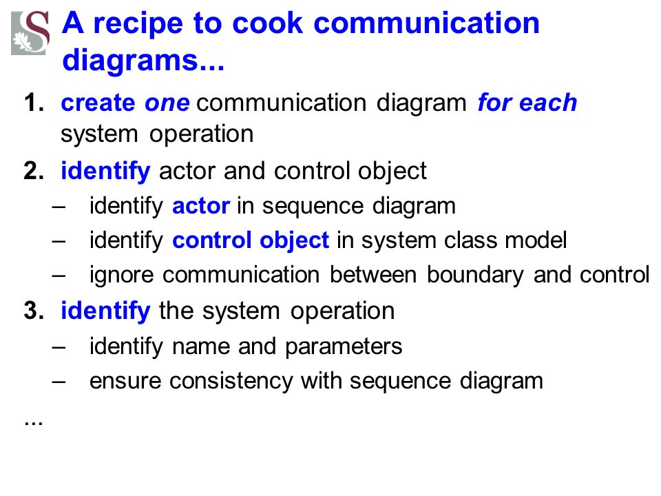 A recipe to cook communication diagrams... 1.create one communication diagram for each system operation 2.identify actor and control object –identify