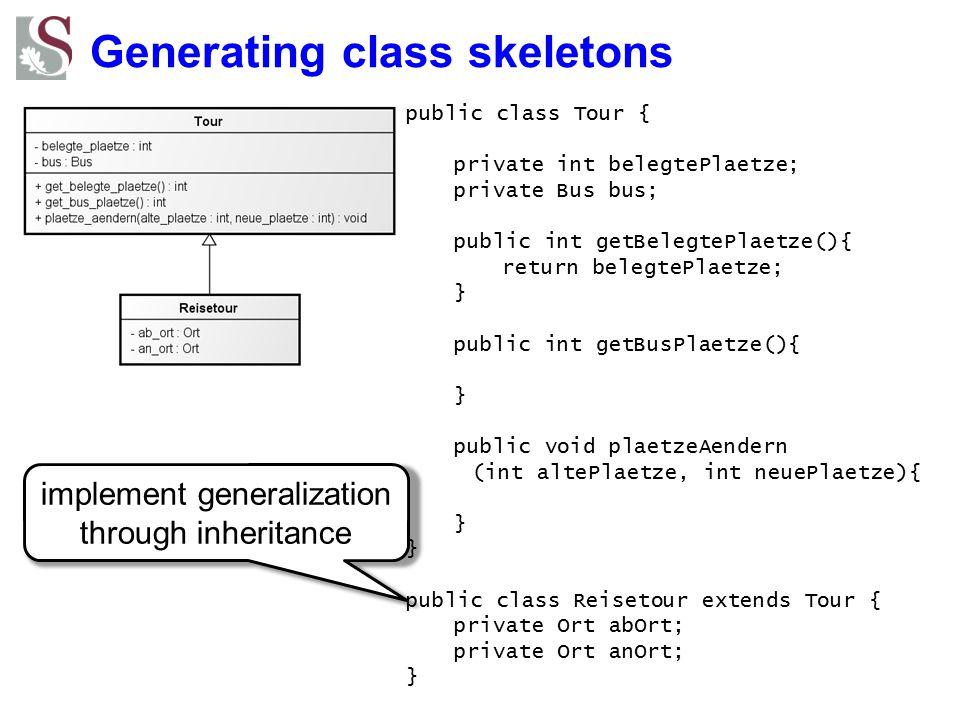 Generating class skeletons implement generalization through inheritance public class Tour { private int belegtePlaetze; private Bus bus; public int ge
