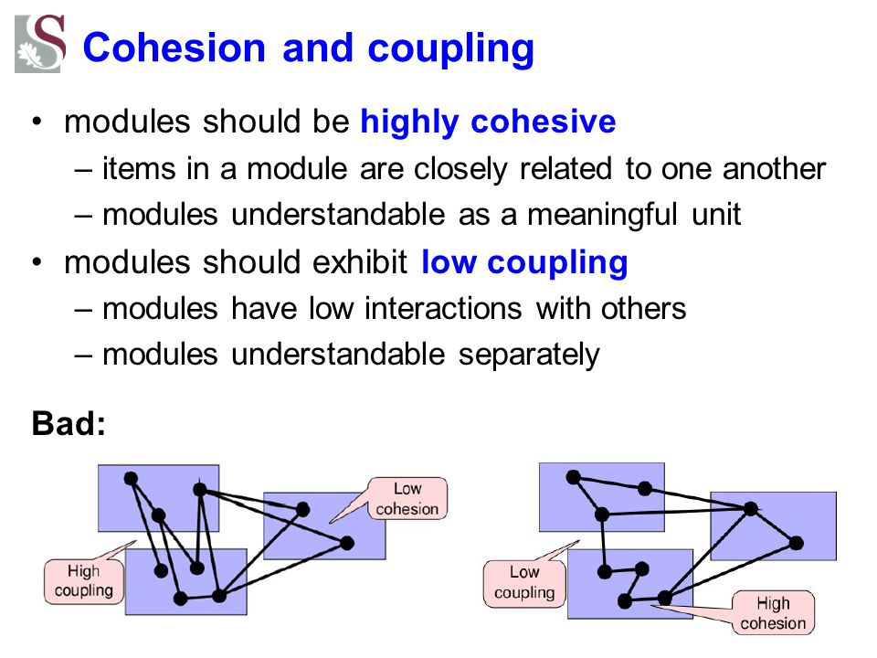 Cohesion and coupling modules should be highly cohesive –items in a module are closely related to one another –modules understandable as a meaningful