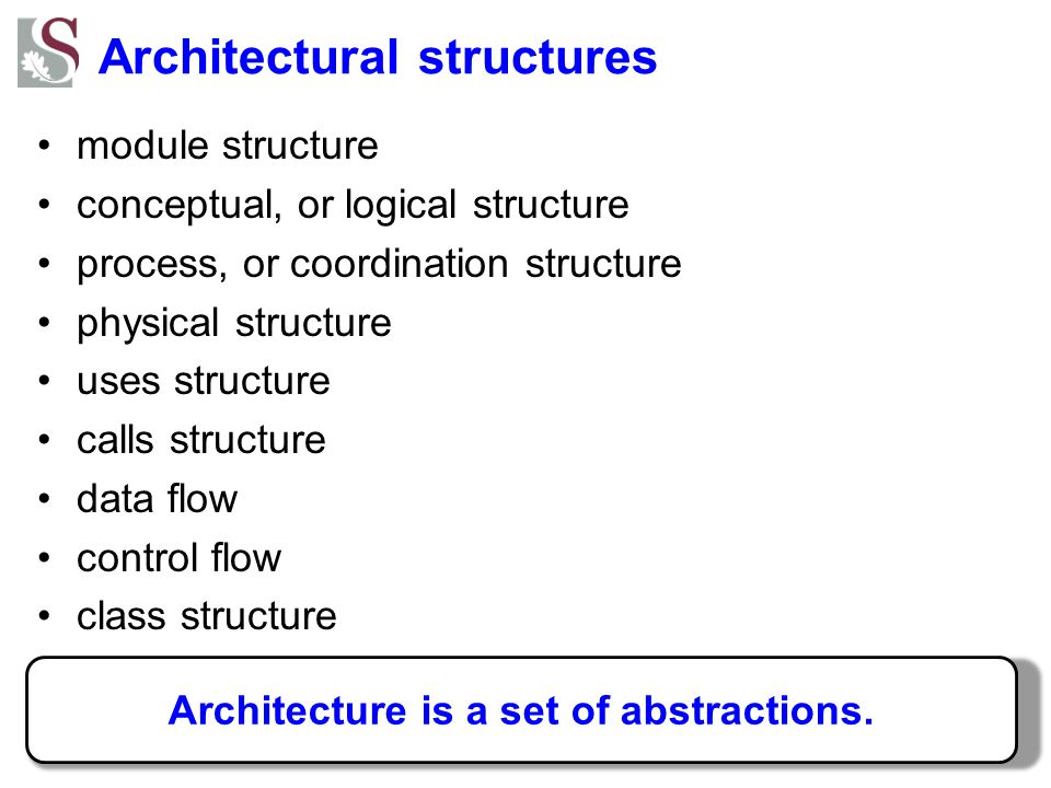 Architectural structures module structure conceptual, or logical structure process, or coordination structure physical structure uses structure calls