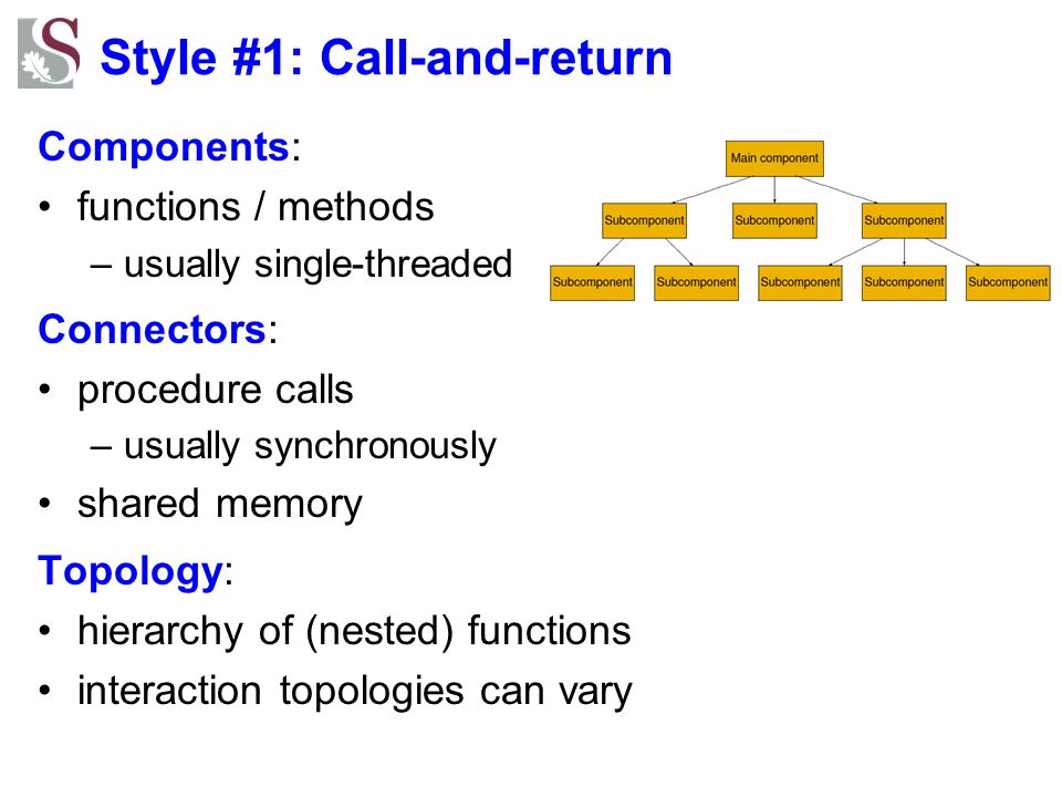 Style #1: Call-and-return Components: functions / methods –usually single-threaded Connectors: procedure calls –usually synchronously shared memory To