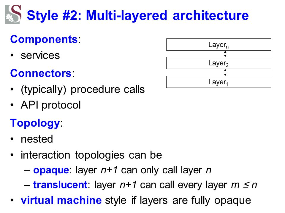 Style #2: Multi-layered architecture Components: services Connectors: (typically) procedure calls API protocol Topology: nested interaction topologies