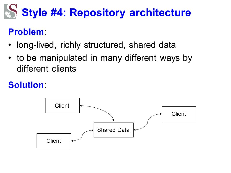 Style #4: Repository architecture Problem: long-lived, richly structured, shared data to be manipulated in many different ways by different clients So