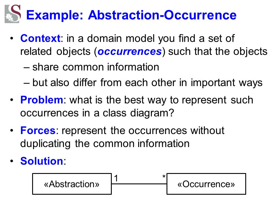 Example: Abstraction-Occurrence Context: in a domain model you find a set of related objects (occurrences) such that the objects –share common informa
