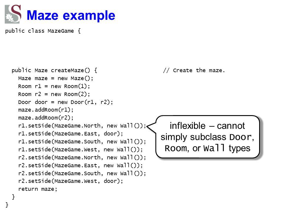 Maze example public class MazeGame { public Maze createMaze() { // Create the maze. Maze maze = new Maze(); Room r1 = new Room(1); Room r2 = new Room(