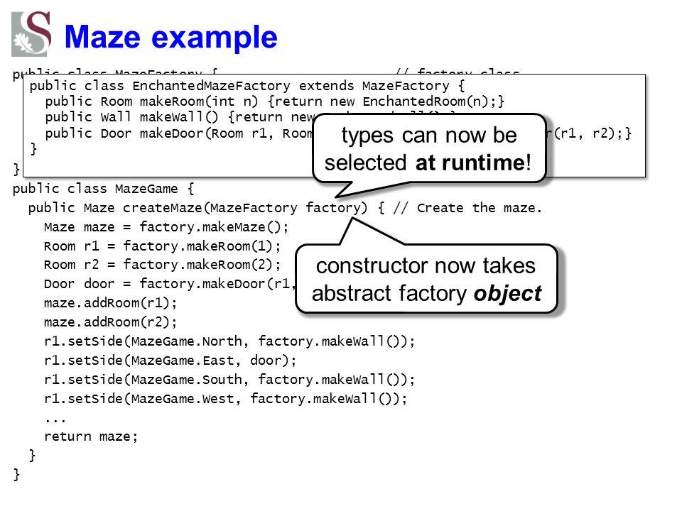 Maze example public class MazeFactory { // factory class public Maze makeMaze() {return new Maze();} // factory methods public Room makeRoom(int n) {r