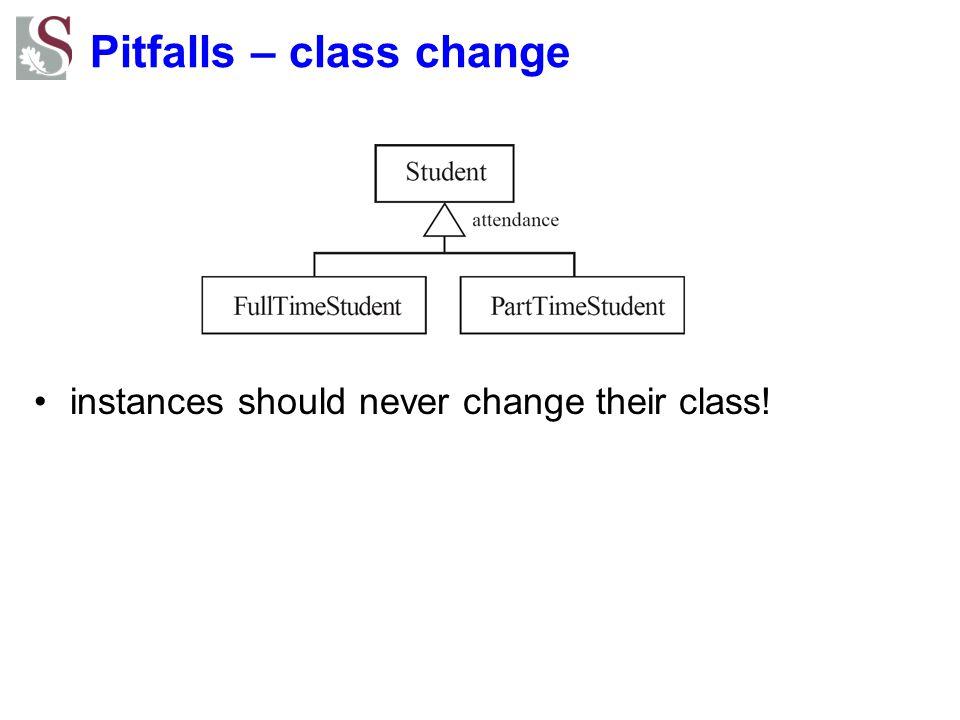 Pitfalls – class change instances should never change their class!