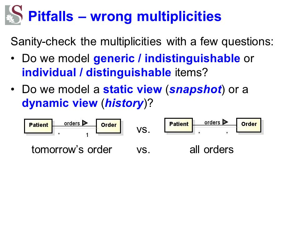 Pitfalls – wrong multiplicities Sanity-check the multiplicities with a few questions: Do we model generic / indistinguishable or individual / distingu