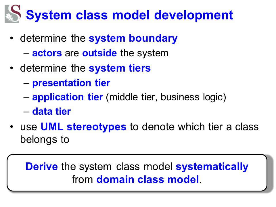 System class model development determine the system boundary –actors are outside the system determine the system tiers –presentation tier –application