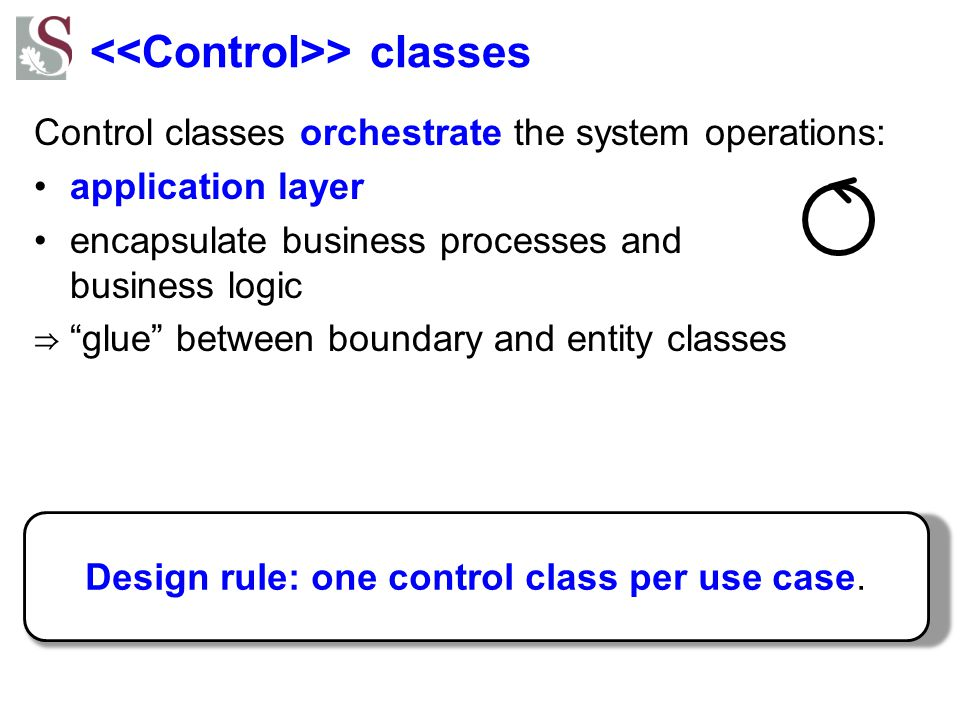 """> classes Control classes orchestrate the system operations: application layer encapsulate business processes and business logic ⇒ """"glue"""" between boun"""