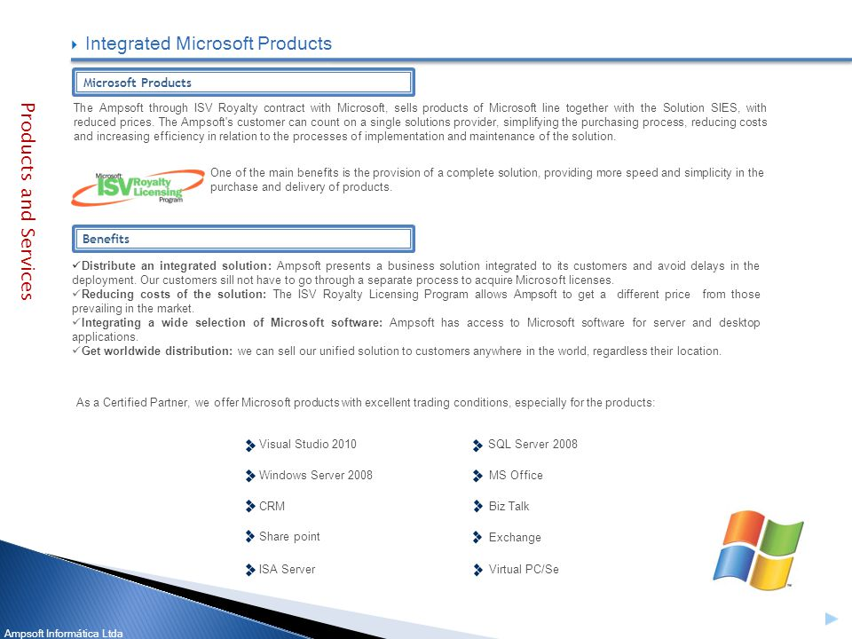 Ampsoft Informática Ltda The Ampsoft through ISV Royalty contract with Microsoft, sells products of Microsoft line together with the Solution SIES, with reduced prices.