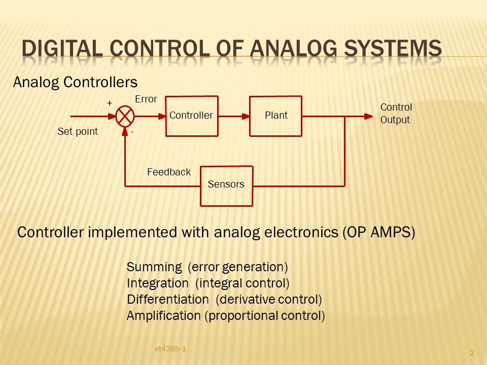 Controller et438b-1 33 In on/off control error signal is binary in nature.
