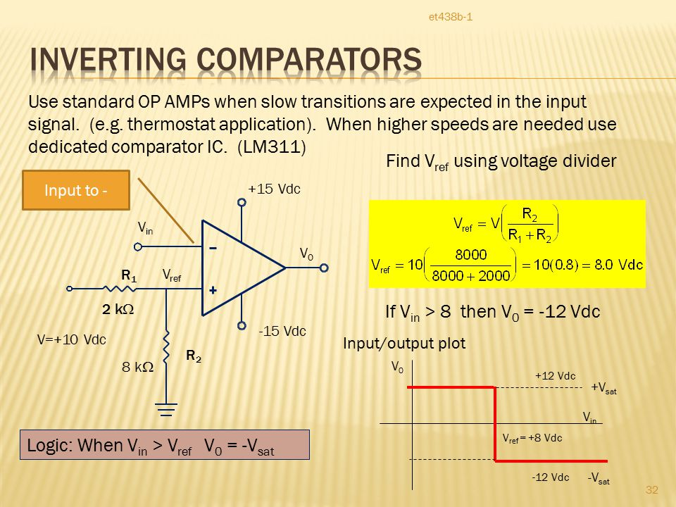 et438b-1 32 Use standard OP AMPs when slow transitions are expected in the input signal.
