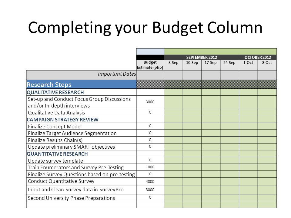 Completing your Budget Column SEPTEMBER 2012OCTOBER 2012 Budget Estimate (php) 3-Sep10-Sep17-Sep24-Sep1-Oct8-Oct Important Dates Research Steps QUALITATIVE RESEARCH Set-up and Conduct Focus Group Discussions and/or In-depth interviews 3000 Qualitative Data Analysis 0 CAMPAIGN STRATEGY REVIEW Finalize Concept Model 0 Finalize Target Audience Segmentation 0 Finalize Results Chain(s) 0 Update preliminary SMART objectives 0 QUANTITATIVE RESEARCH Update survey template 0 Train Enumerators and Survey Pre-Testing 1000 Finalize Survey Questions based on pre-testing 0 Conduct Quantitative Survey 4000 Input and Clean Survey data in SurveyPro 3000 Second University Phase Preparations 0