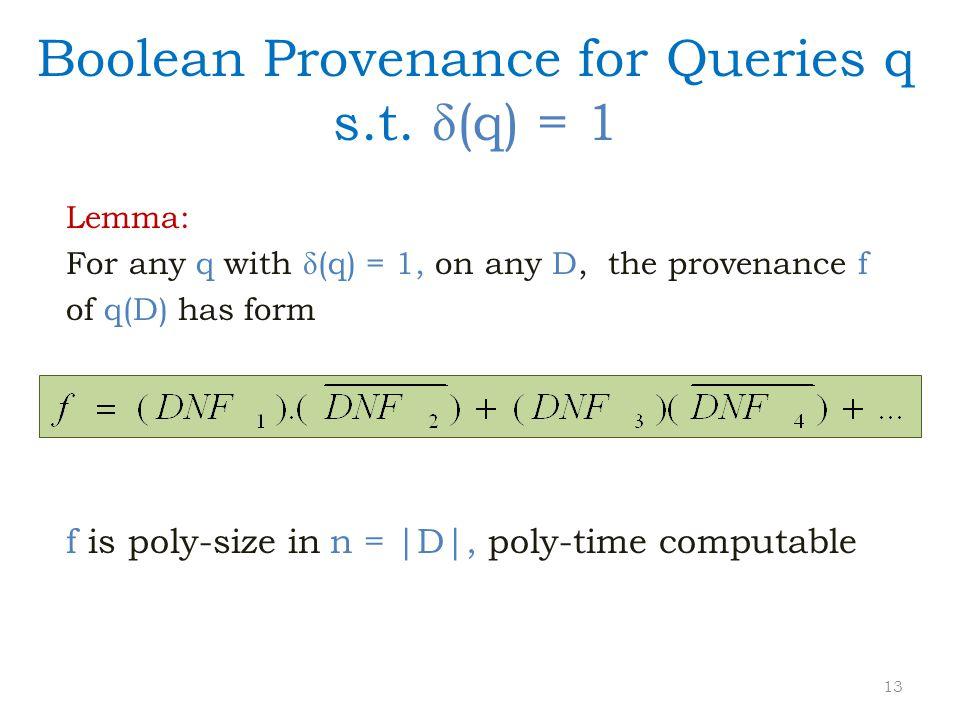 Boolean Provenance for Queries q s.t.