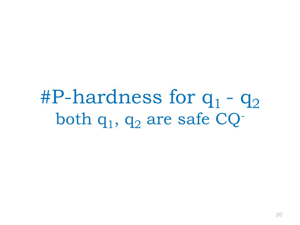 #P-hardness for q 1 - q 2 both q 1, q 2 are safe CQ - 20
