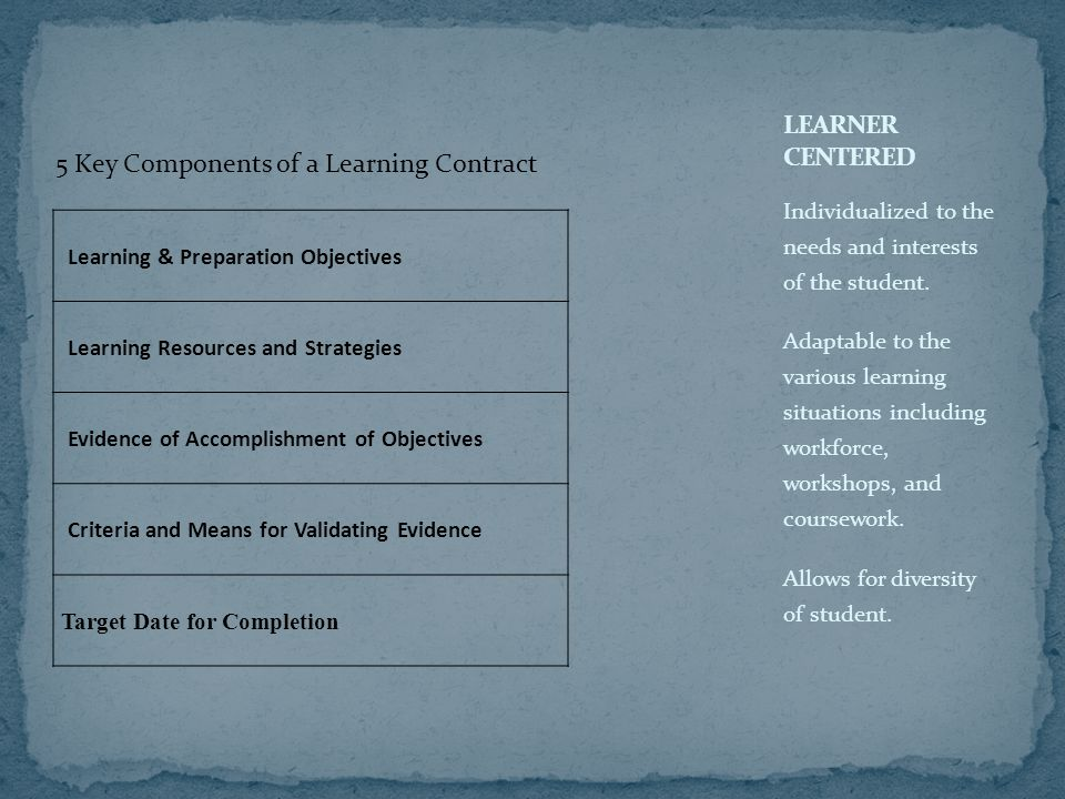 Learning & Preparation Objectives Learning Resources and Strategies Evidence of Accomplishment of Objectives Criteria and Means for Validating Evidence Target Date for Completion Individualized to the needs and interests of the student.