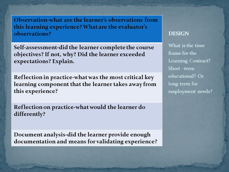 Observation-what are the learner's observations from this learning experience? What are the evaluator's observations? Self-assessment-did the learner