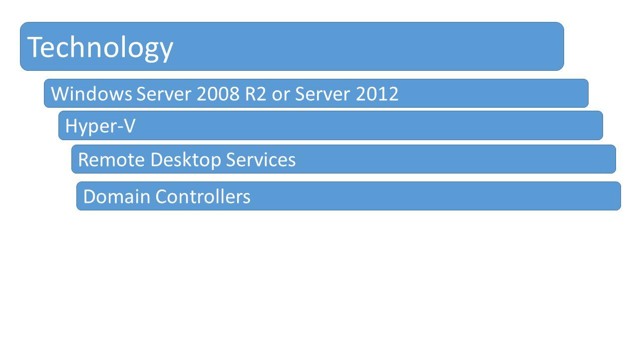 Technology Windows Server 2008 R2 or Server 2012 Domain Controllers Remote Desktop Services Hyper-V
