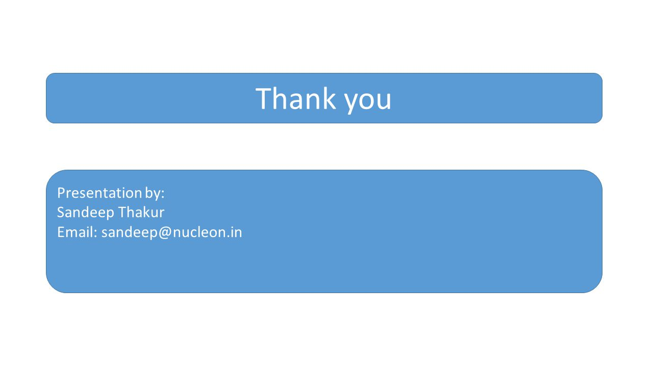 Thank you Presentation by: Sandeep Thakur Email: sandeep@nucleon.in