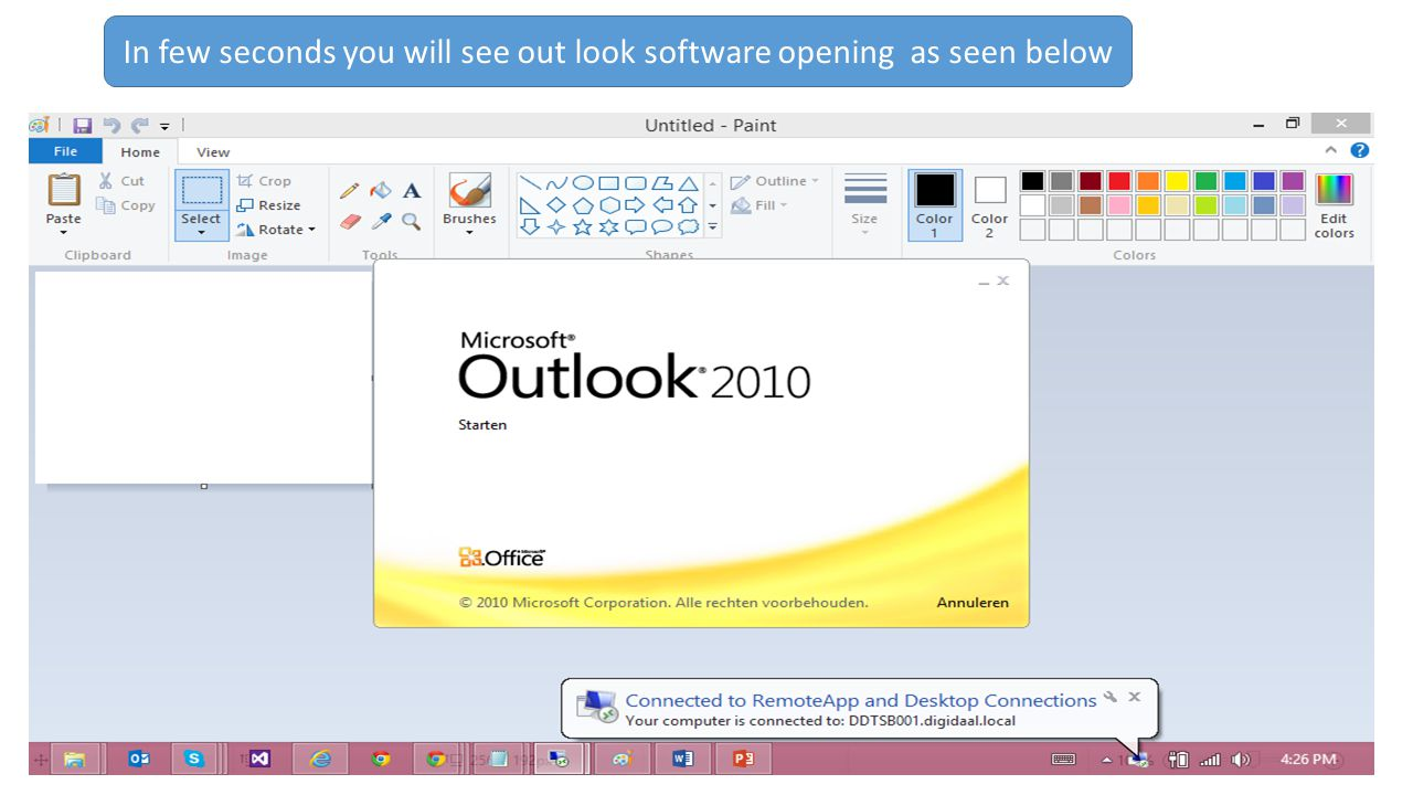In few seconds you will see out look software opening as seen below