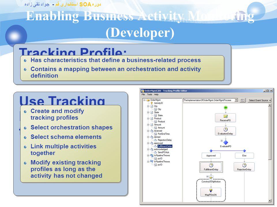 دوره SOA استانداری قم - جواد تقی زاده Enabling Business Activity Monitoring (Analyst) 103 Analyst defines: Events and data to be tracked Logical group