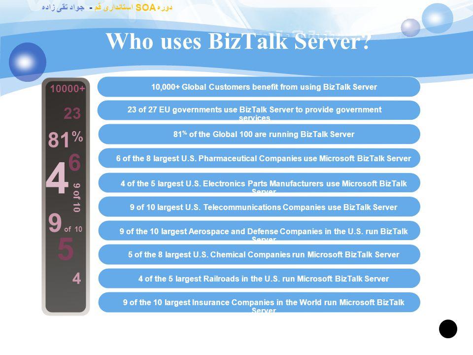 دوره SOA استانداری قم - جواد تقی زاده The History of BizTalk Server 2002 BizTalk Server 2002 2004 BizTalk Server 2004 2006 BizTalk Server 2006 2007 BizTalk Server 2006, R2.NET-based rewrite 2009BizTalk2009 2000 BizTalk Server 2000