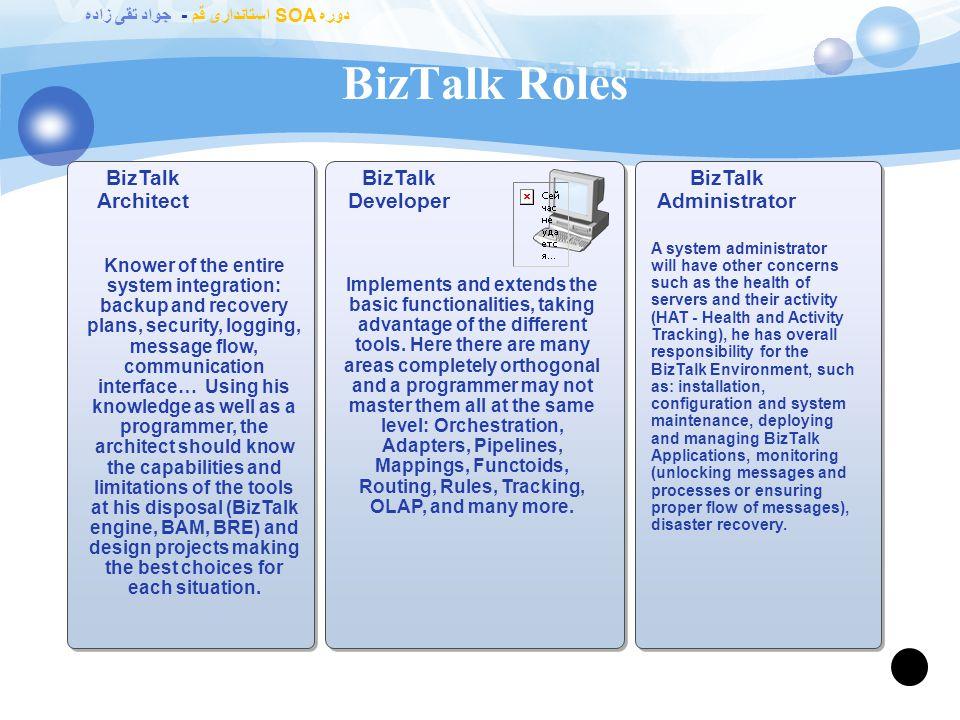 دوره SOA استانداری قم - جواد تقی زاده BizTalk Server BizTalk Server Enterprise Edition SQL Server … … BizTalk Server Allows multiple servers for reliability and scalability Allows an unlimited number of applications