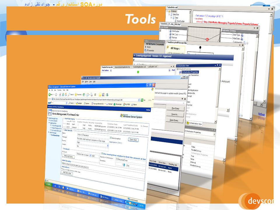 دوره SOA استانداری قم - جواد تقی زاده Tools for Developers 22 Visual Studio 2010 Define Schemas Transform Data Process Messages Design Business Processes Customer Name Title Item ItemID Qty UnitPrice Record PO Status Date Field1 Field2 Field3 Field1 Field2 Header PO Status Field3 Item Order PO Date FieldA FieldB Detail Field1 Field2 Header PO Status Field3 Item Orchestration Designer Pipeline Designer BizTalk Mapper BizTalk Editor