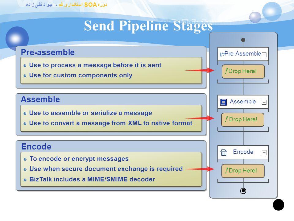 دوره SOA استانداری قم - جواد تقی زاده Receive Pipeline Stages 62 Decode Drop Here.