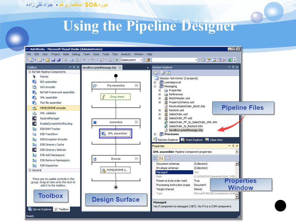 دوره SOA استانداری قم - جواد تقی زاده What Are the Default Pipelines? 64 PipelineUsage Pass-Through Receive (PassThruReceive) Contains no components N