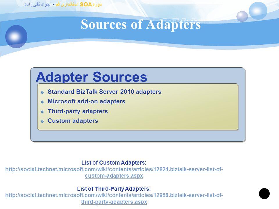 دوره SOA استانداری قم - جواد تقی زاده What Is an Adapter? 86 Adapters.NET or COM software components Connect BizTalk to specific applications and syst