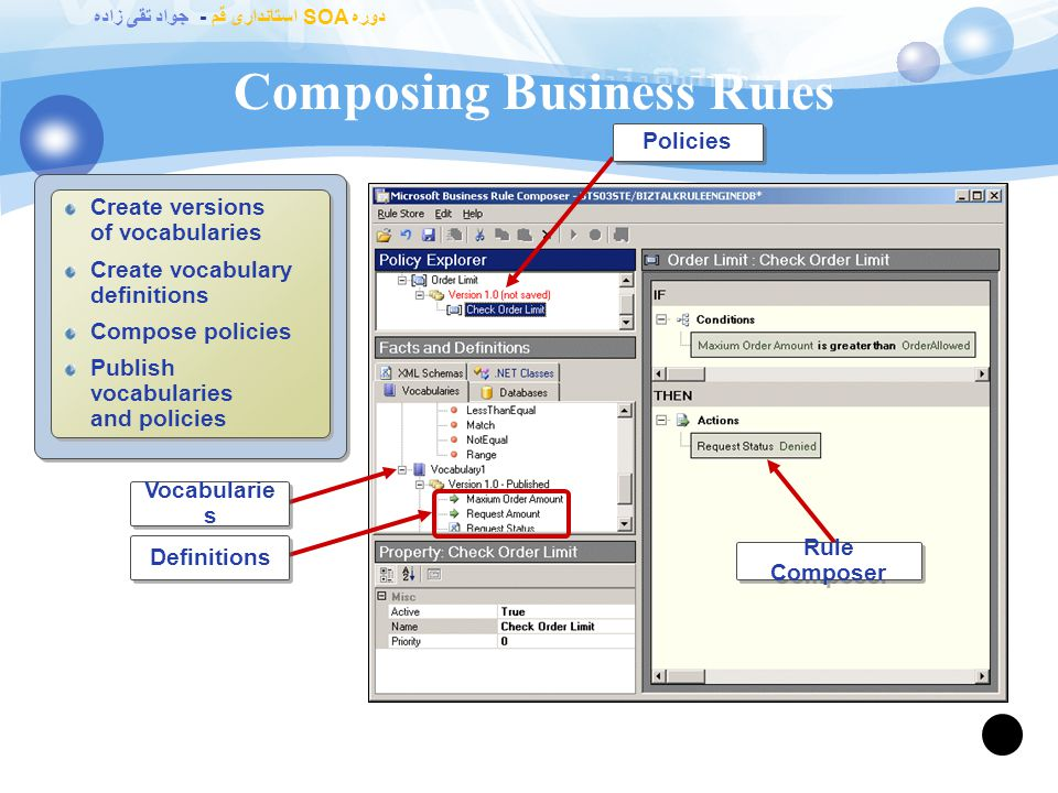 دوره SOA استانداری قم - جواد تقی زاده Identifying Business Rule Personas 97 Developers Integrate policies within an orchestration Define policies and vocabularies Integrate policies within an orchestration Define policies and vocabularies Information Workers Use business vocabularies to design and test policies Administrators Secure, deploy, and migrate policies Track policy execution Secure, deploy, and migrate policies Track policy execution