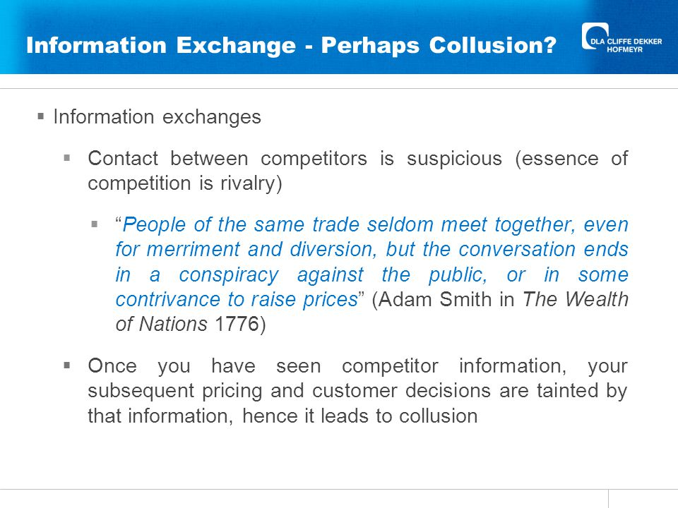 Information Exchange - Perhaps Collusion.