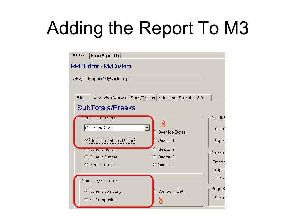 Once you have created an rpf file, place both the.rpt and the.rpf file in you reports directory and the report will be available for M3.