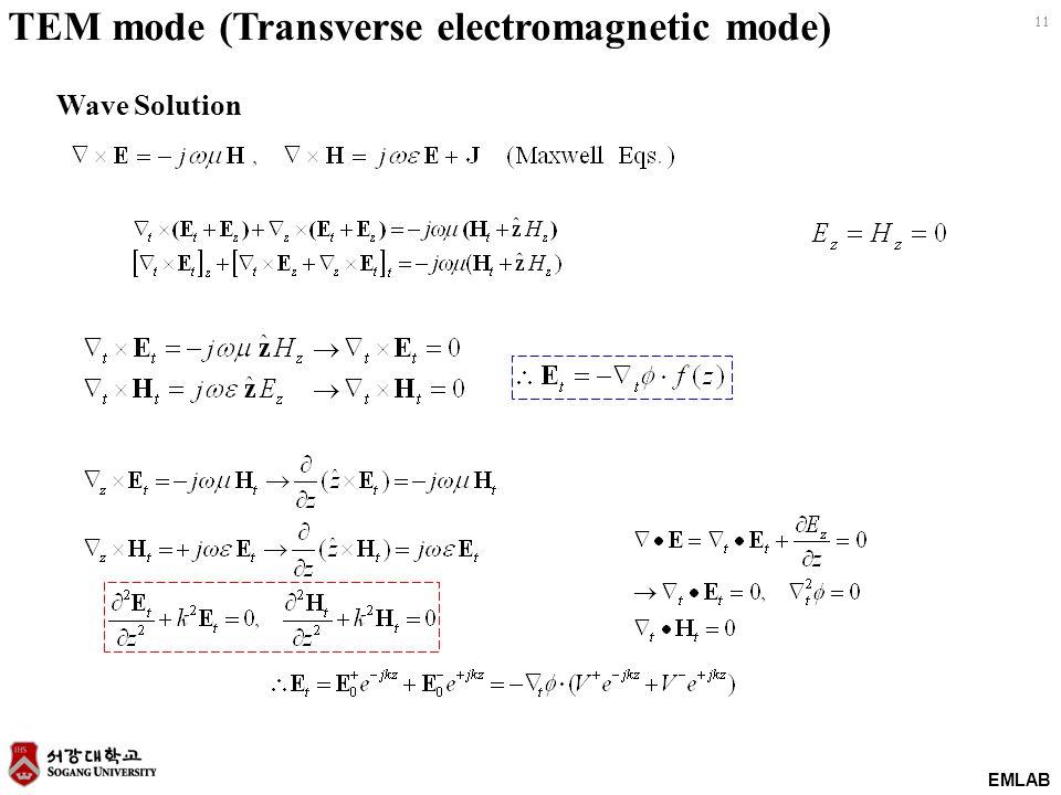 EMLAB 11 Wave Solution TEM mode (Transverse electromagnetic mode)