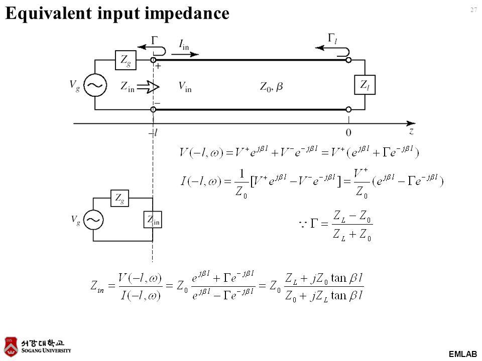 EMLAB 27 Equivalent input impedance