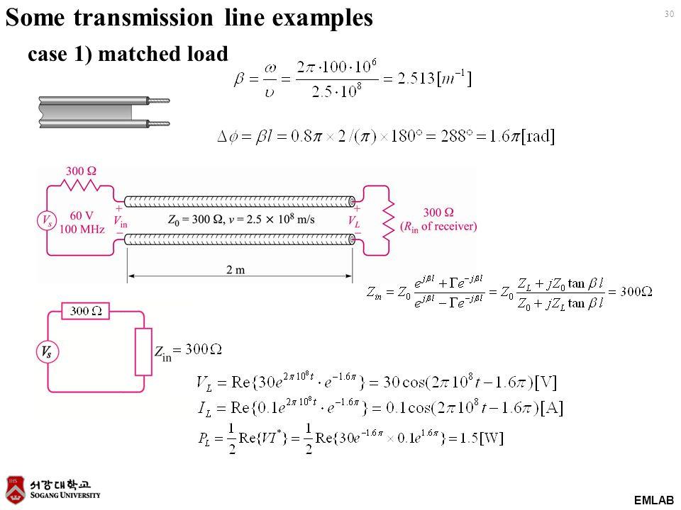EMLAB 30 Some transmission line examples case 1) matched load