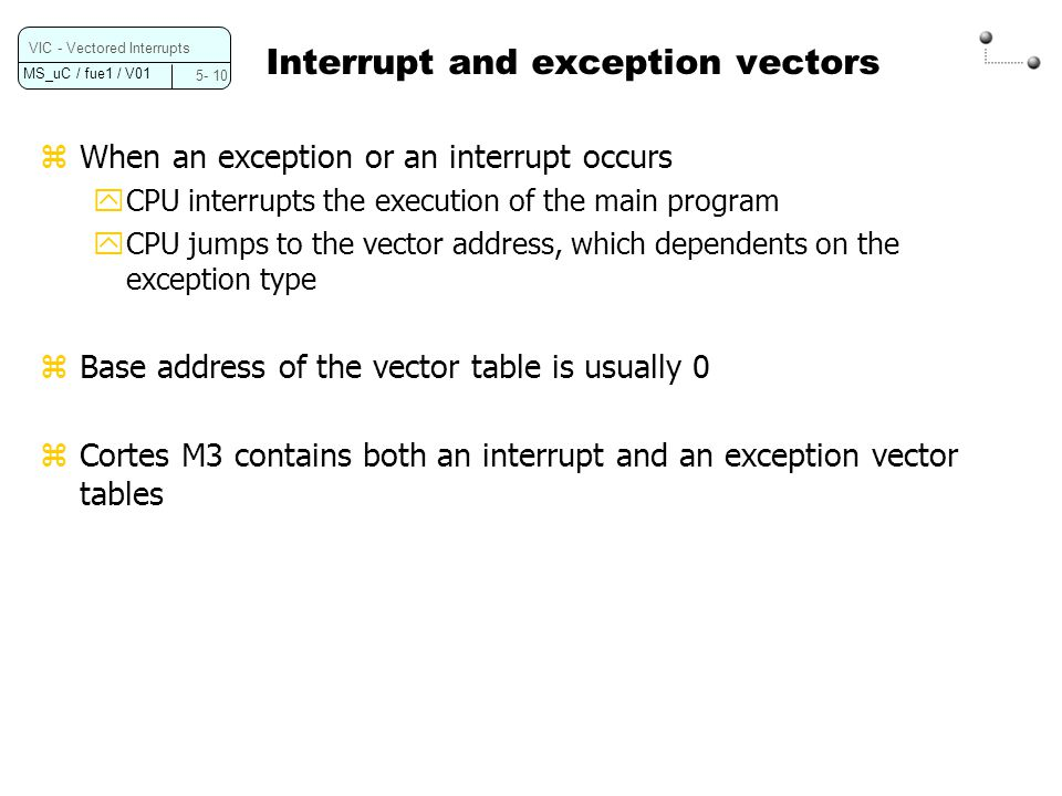 MS_uC / fue1 / V01 5- 11 VIC - Vectored Interrupts Exception vector table of the Cortex M3 (Ref.
