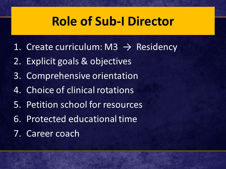 Role of Sub-I Director 1.Create curriculum: M3 → Residency 2.Explicit goals & objectives 3.Comprehensive orientation 4.Choice of clinical rotations 5.