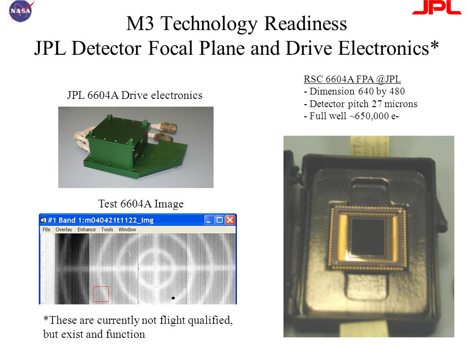 M3 Technology Readiness JPL Detector Focal Plane and Drive Electronics* RSC 6604A FPA @JPL - Dimension 640 by 480 - Detector pitch 27 microns - Full well ~650,000 e- JPL 6604A Drive electronics Test 6604A Image *These are currently not flight qualified, but exist and function